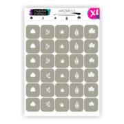 Трафареты для аэрографии на ногтях OneAir Листья V2 XL