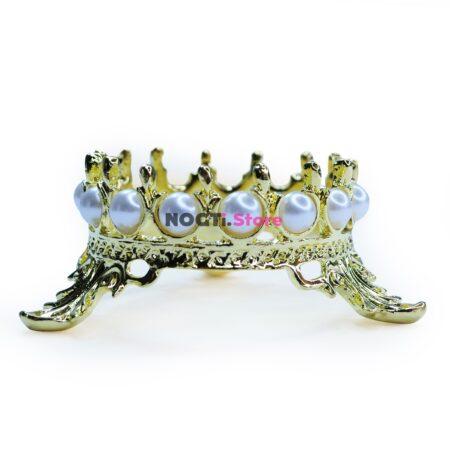 Подставка для кистей корона с жемчугом золото